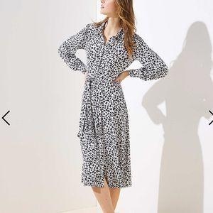 LOFT white leopard print Tie Waist Shirtdress